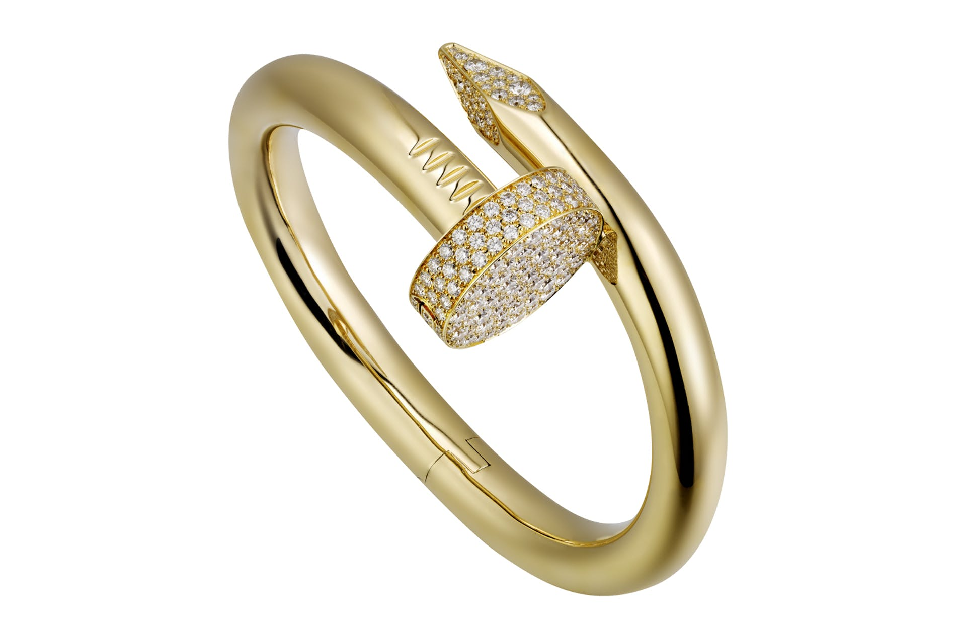 Cartier Juste un Clou bracelet, large model in yellow gold, head and point paved with diamonds