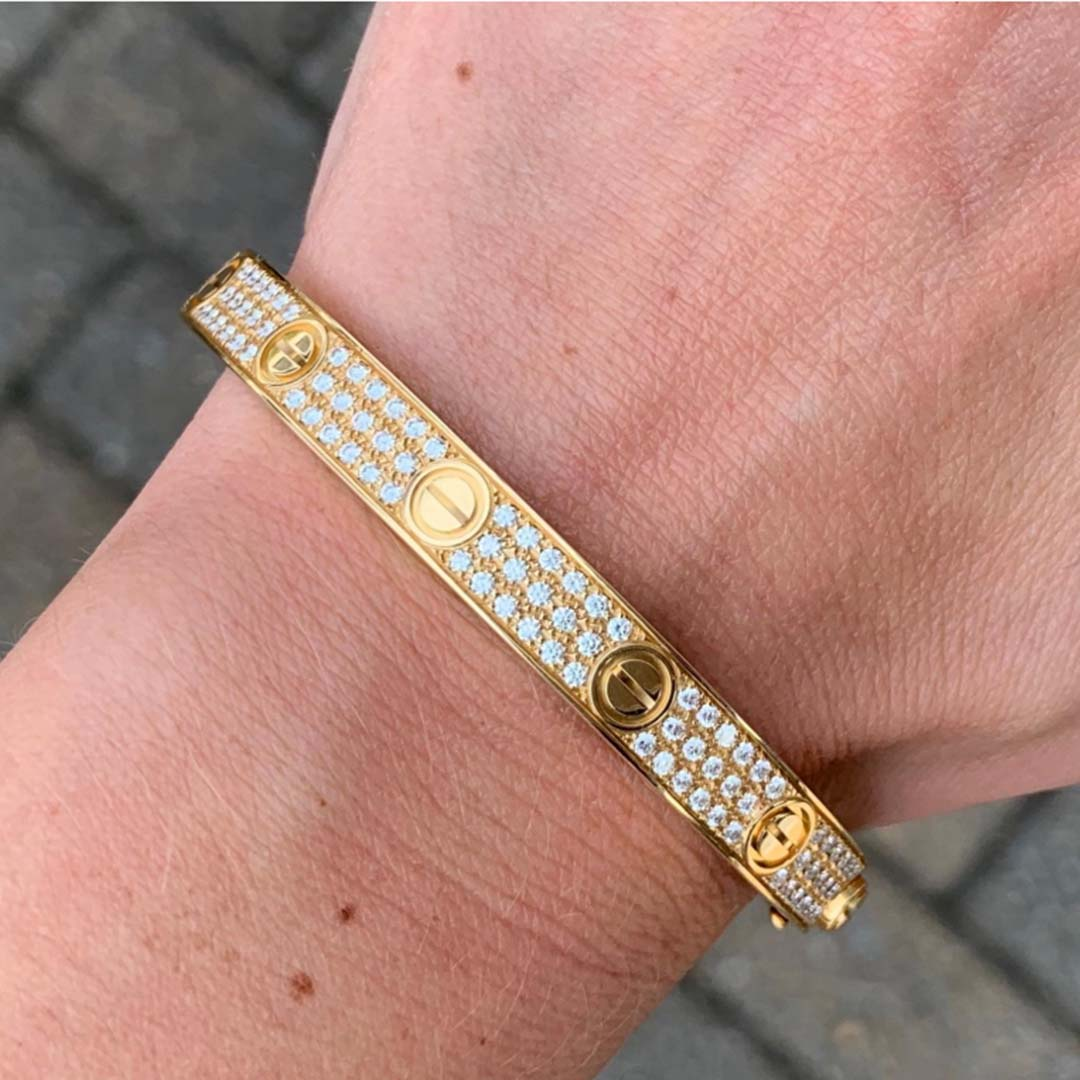 18K Yellow Gold Cartier Love Bracelet with Pave 204 Diamonds N6035017