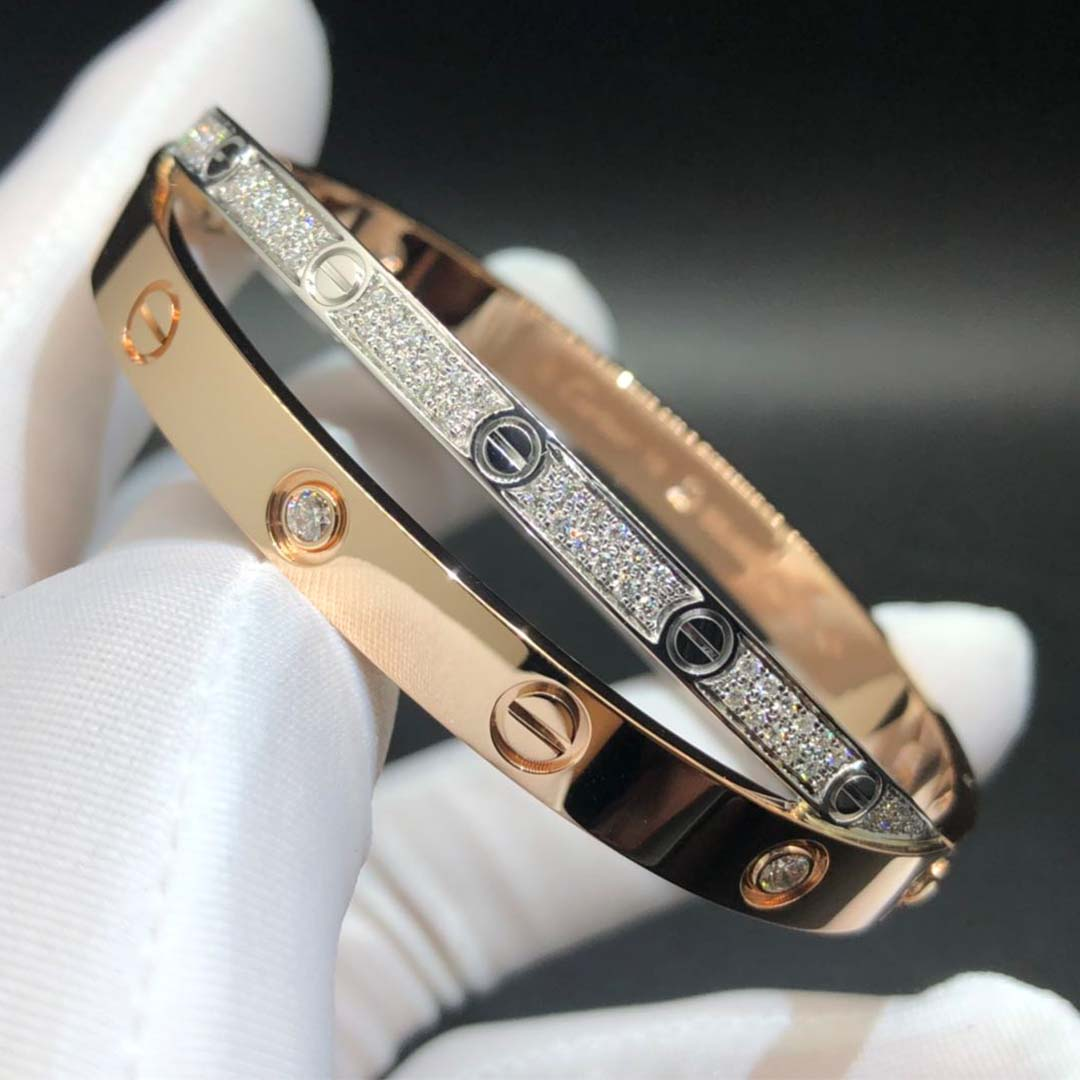 Cartier 18K Pink and White Gold Diamond Paved Love Bracelet N6039217