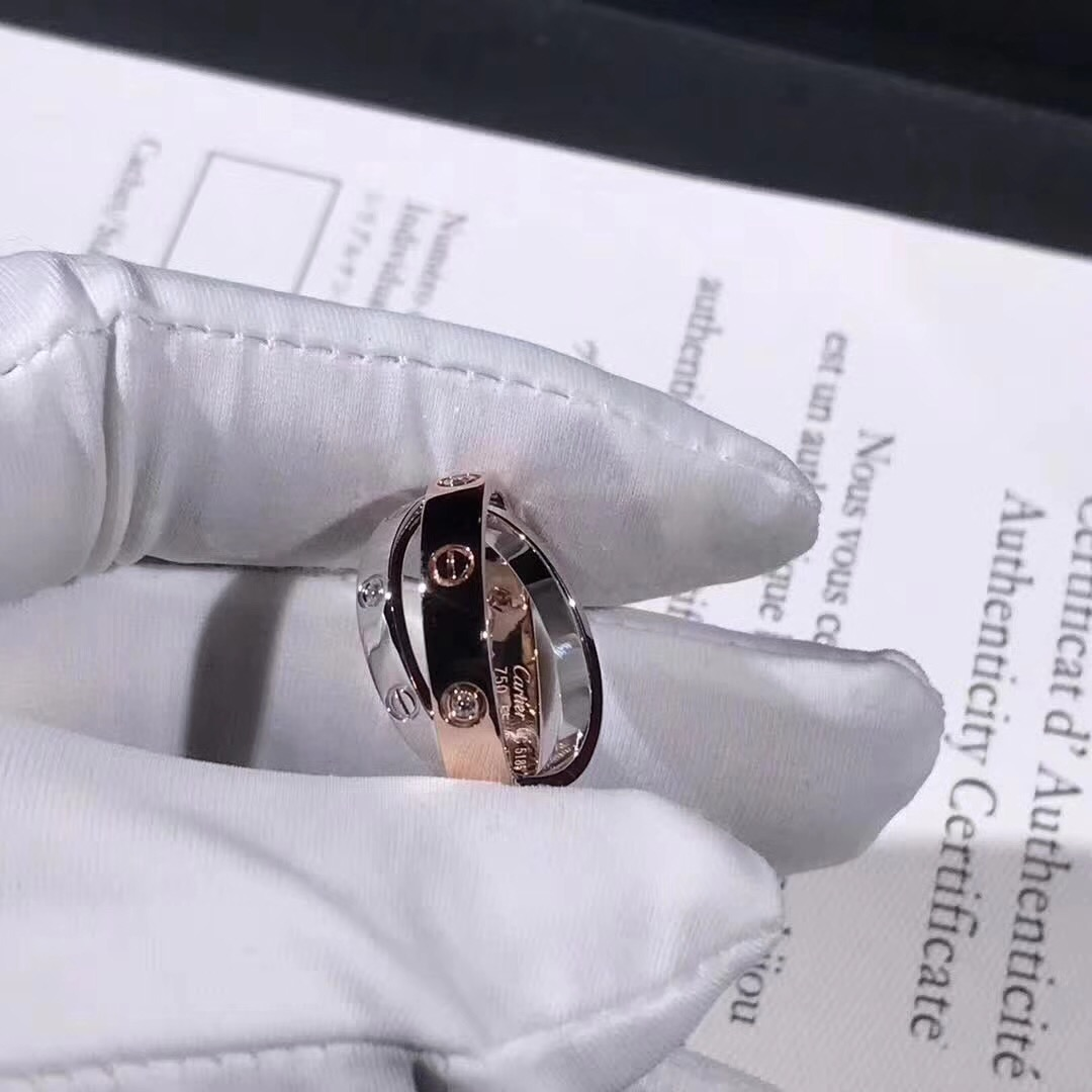 Cartier 6 Diamonds Love Ring in 18k White Gold & Pink Gold B4094300