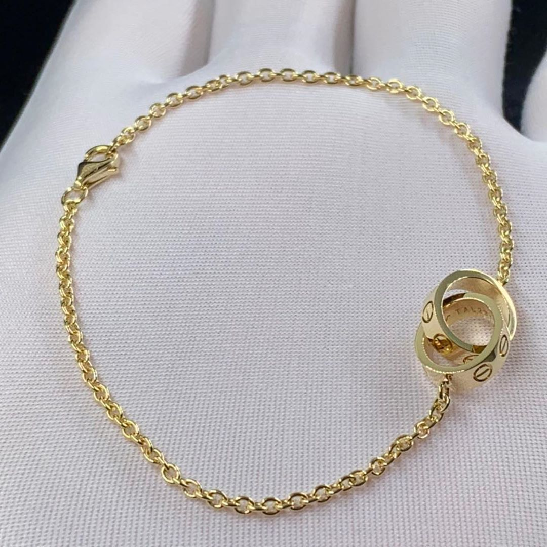 Authentic Cartier 18k Yellow Gold Love 2 Hoops Gold Chain Bracelet B6027100