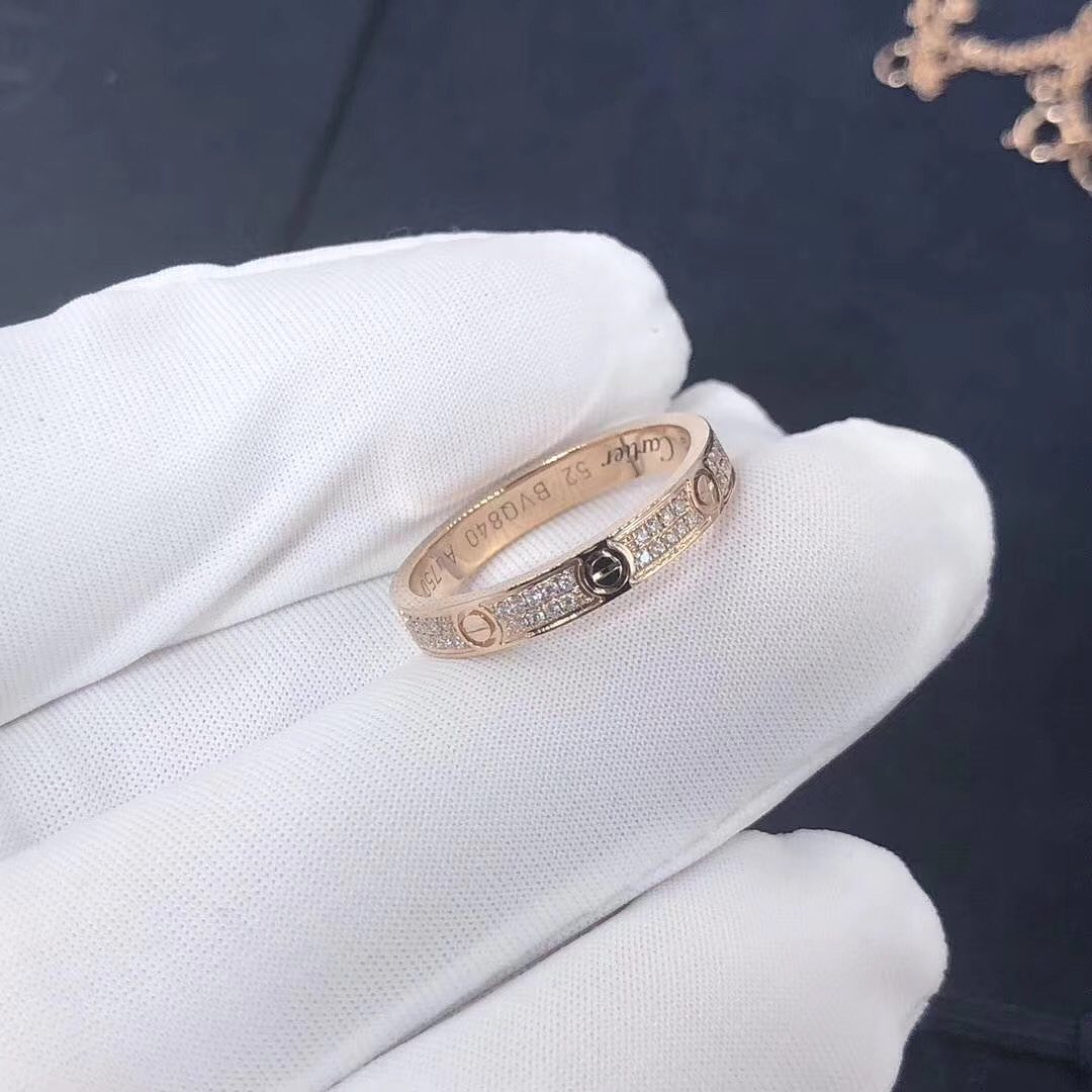 Cartier Love Ring 2.6MM Band Small Model 18k Pink Gold Pave Diamonds B4218100