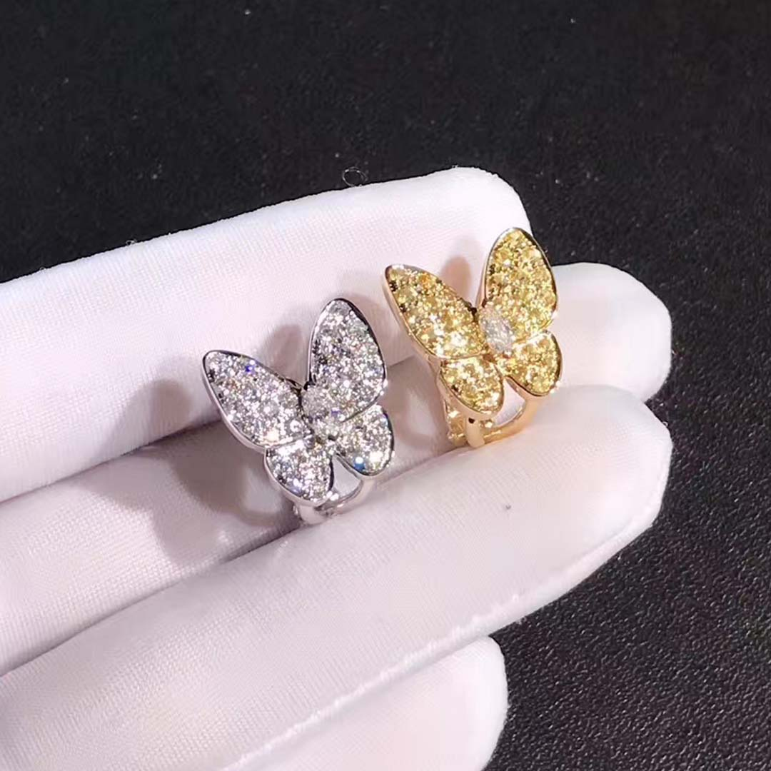 VCA 18K White Gold & Yellow Gold Diamond Yellow Sapphire Two Butterfly Earrings VCARB15100