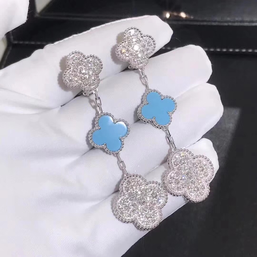 VCA 3 Motifs Magic Alhambra Earrings in 18k White Gold with Diamond Paved and Turquoise