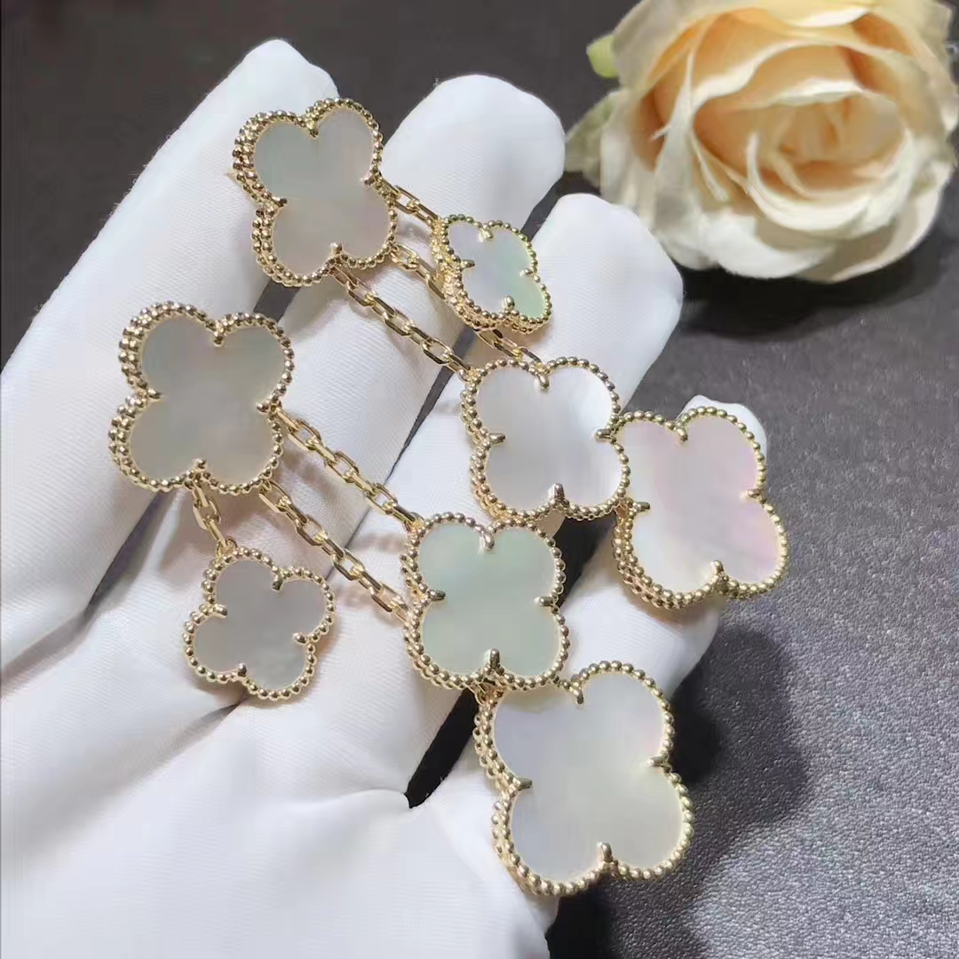 Van Cleef & Arpels 18K Yellow Gold Magic Alhambra 4 Motif Mother of Pearl Earclips VCARD78900