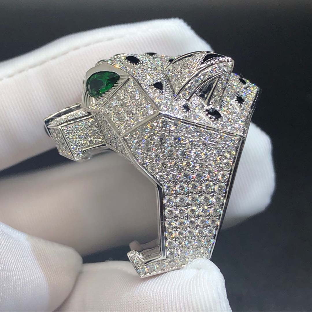 Cartier 18k White Gold Full Diamond Pave Onyx Emerald Panthere de Cartier ring H4179600