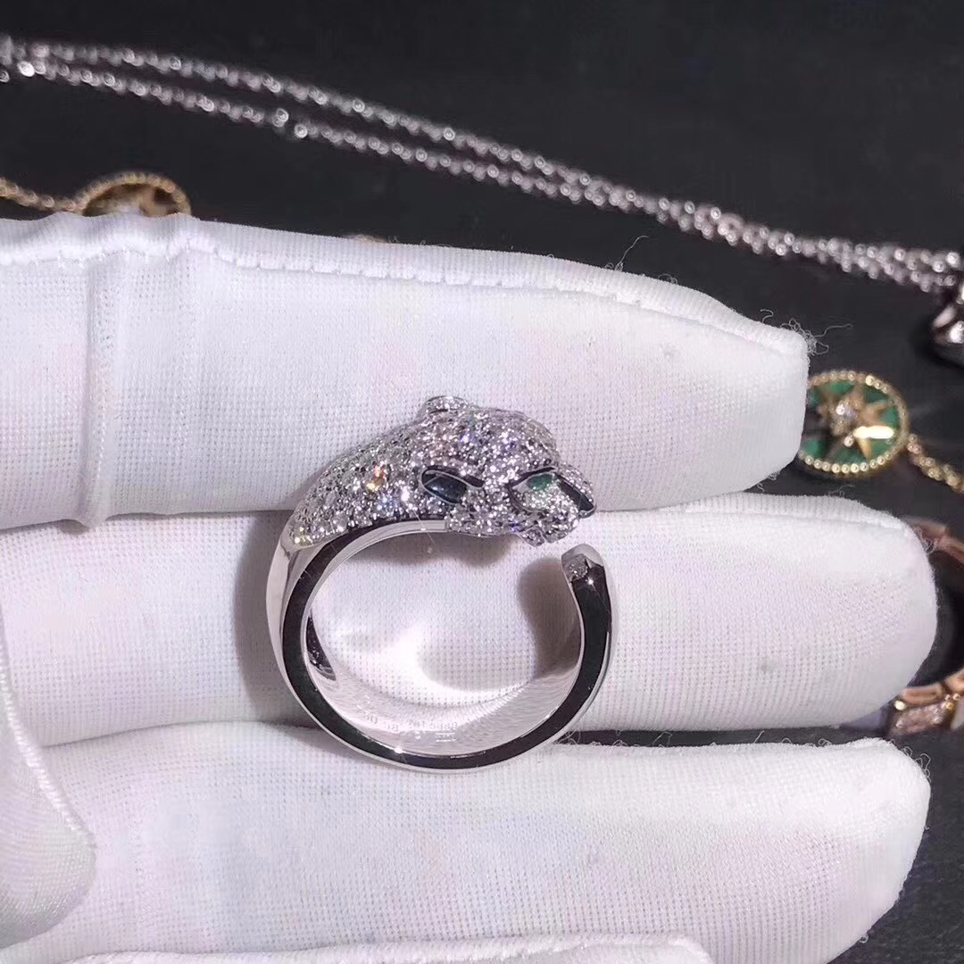 Cartier 18k White Gold with 137 Diamonds Panthere de Cartier Ring N4224900