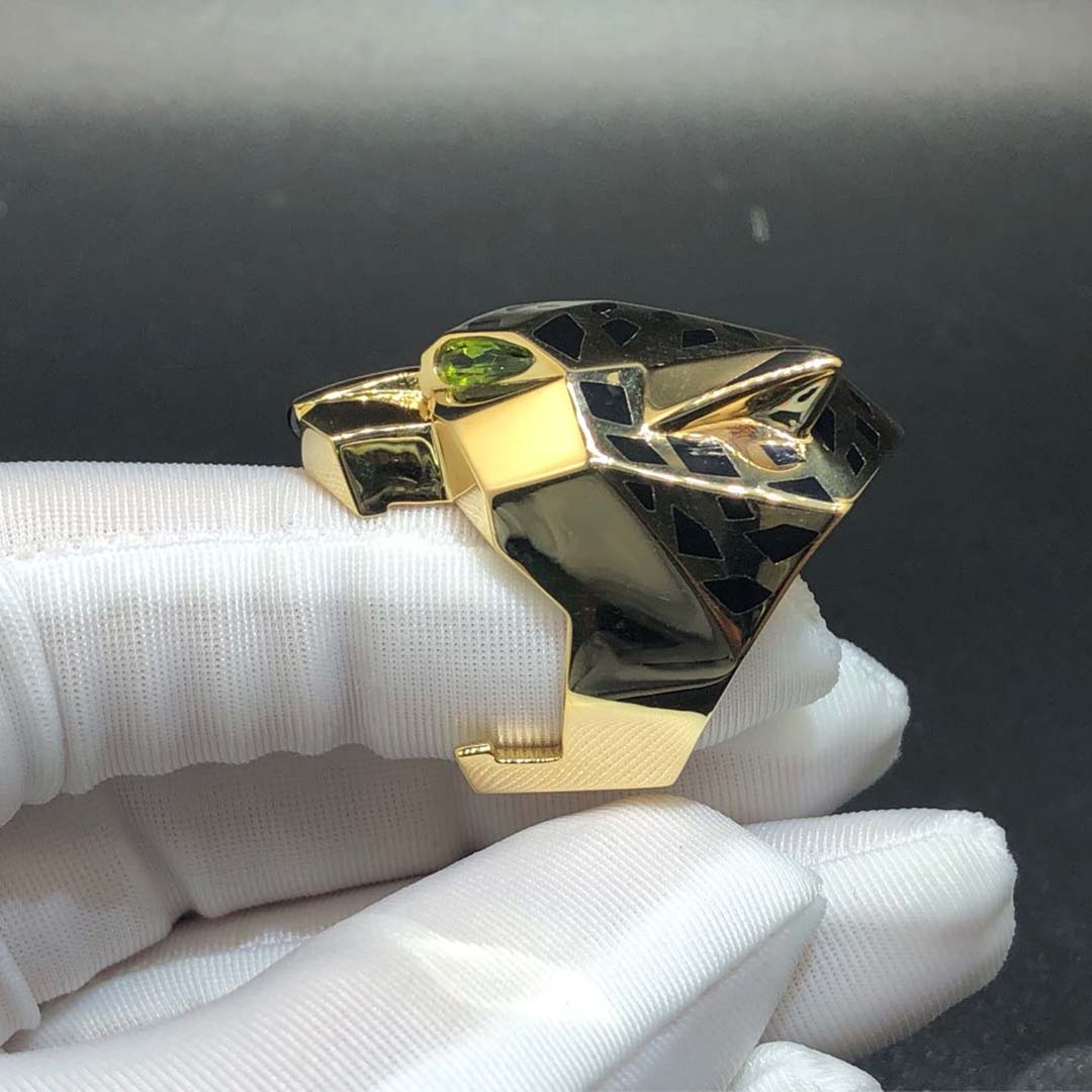 Cartier Panthere de Cartier Black Lacquer 18K Yellow Gold Ring N4193100
