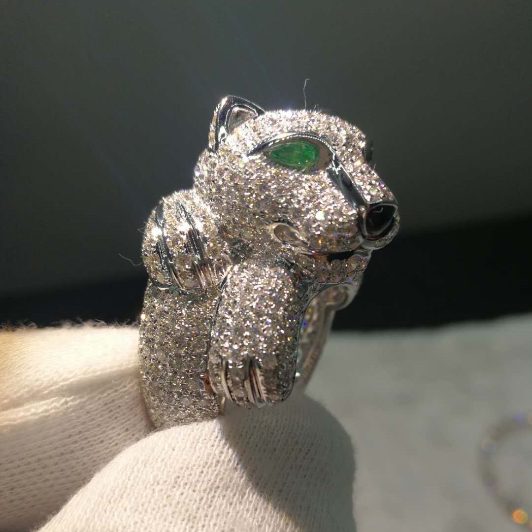 Inspired Panthere de Cartier 18K White Gold Pave Diamond Emerald Ring
