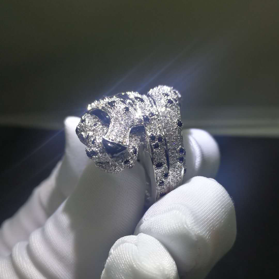 Panthere de Cartier Ring in 18k White Gold with Pave Diamonds