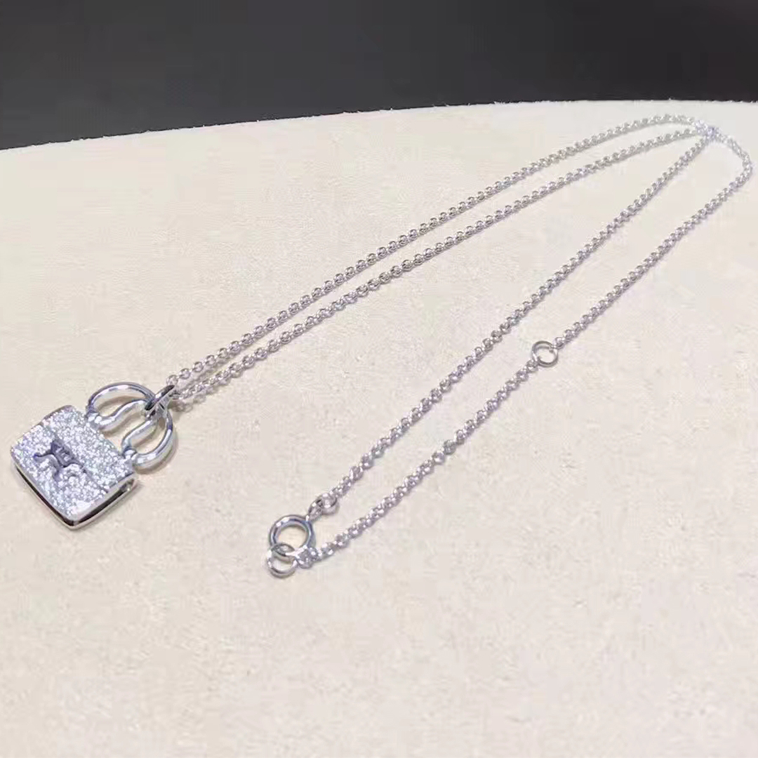 Hermes 18k White Gold and Diamond Constance Amulette Small Pendant H110079B 00