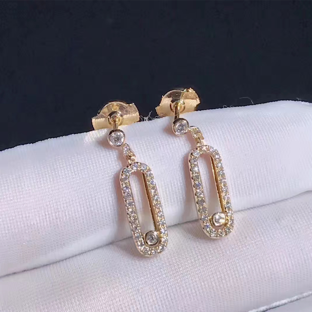 Messika 18k Pink Gold MOVE UNO Pave Diamond Stud Earings