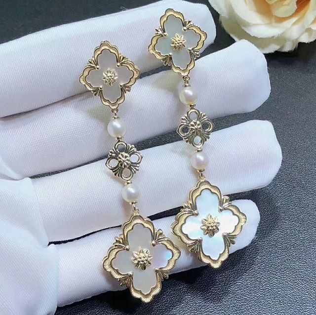 Buccellati 18k Yellow Gold Opera Color White Mother of Pearl Drop Pendant Earrings