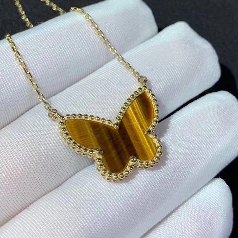 Van Cleef & Arpels 18K Yellow Gold Tiger Eye Lucky Alhambra Butterfly Pendant Necklace