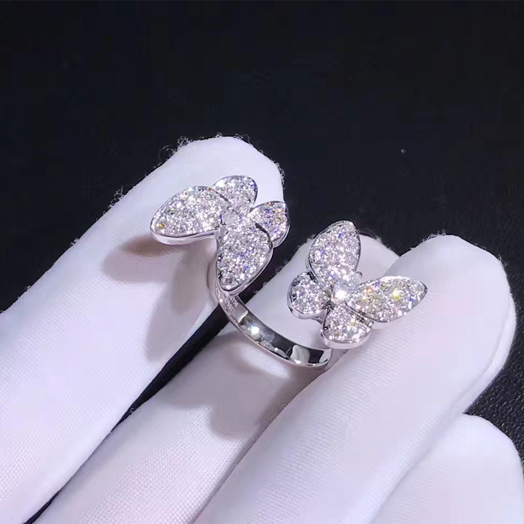 Van Cleef & Arpels 18k White Gold Tow Butterfly Diamond Pave Between the Finger Ring VCARO61900