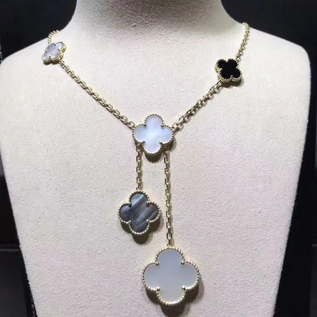 Van Cleef & Arpels 18k Yellow Gold Mother Of Pearl & Onyx Magic Alhambra 6 Motifs Necklace VCARD79200