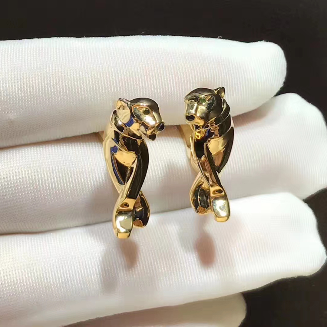 Cartier 18k Yellow Gold Tsavorite Garnet and Black Lacquer Panthere Earrings