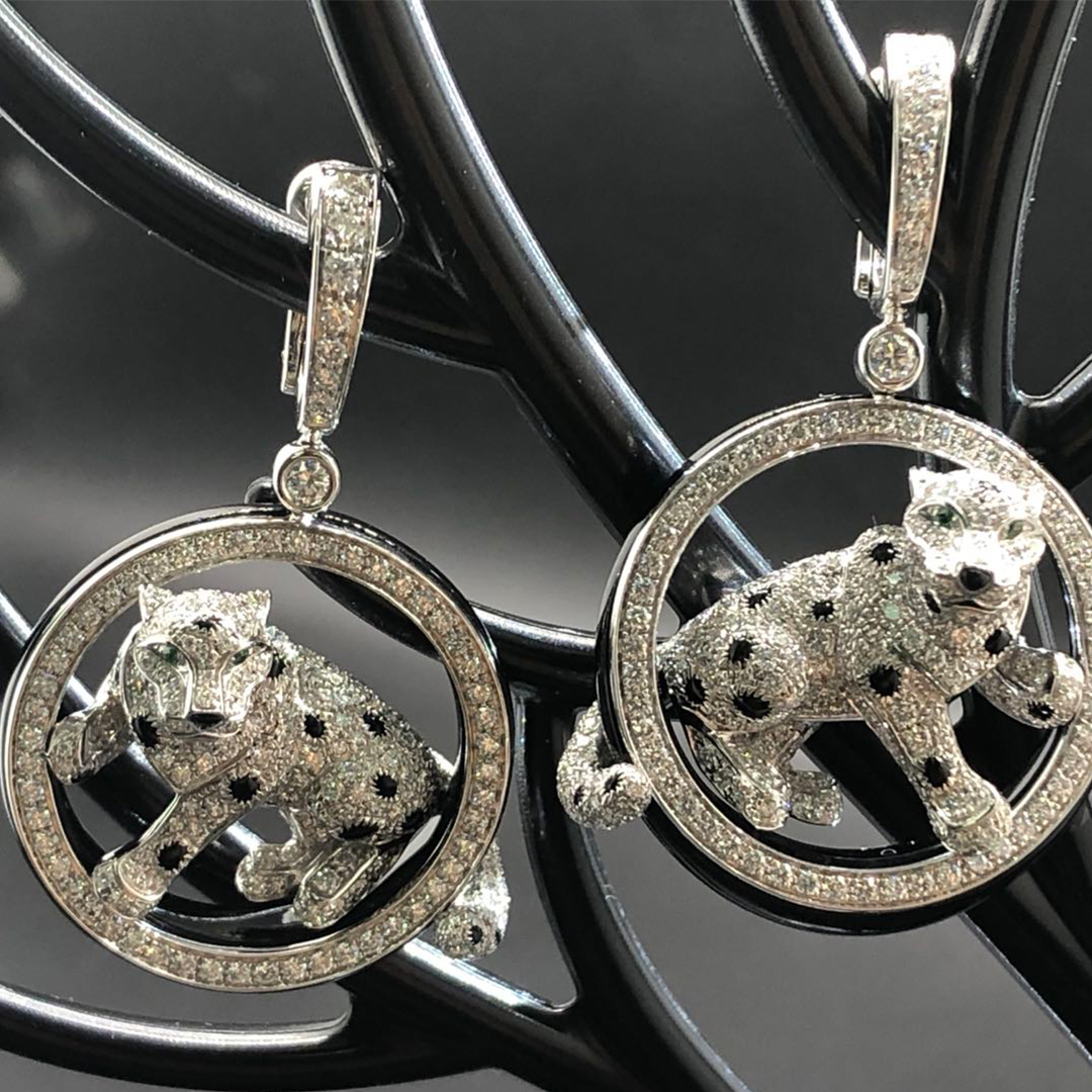 Panthere de Cartier 18k White Gold Black Nephrite Jade and Diamonds Earrings N8503700