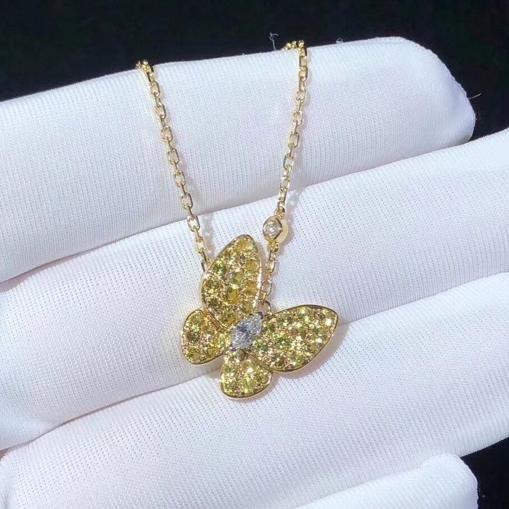 Van Cleef & Arpels 18k Gold Two Butterfly Yellow Sapphire and Diamond Pendant Necklace VCARO3M300