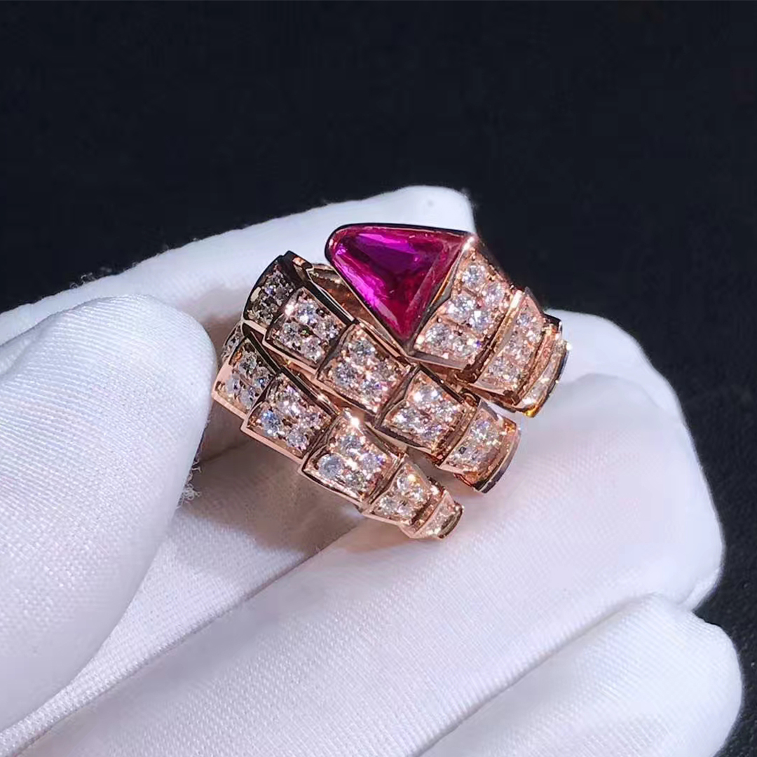 Bvlgari 18k Rose Gold with Diamond and Rubellite Serpenti Double Coil Ring 347593