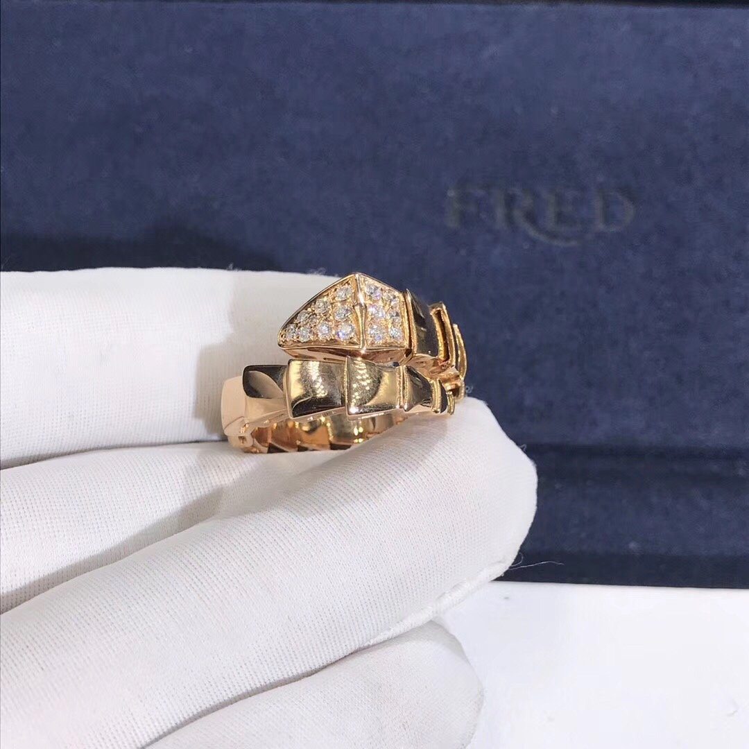 Bvlgari 18k Rose Gold with Pavé Diamonds on the Head Serpenti Viper One-coil Ring 345206