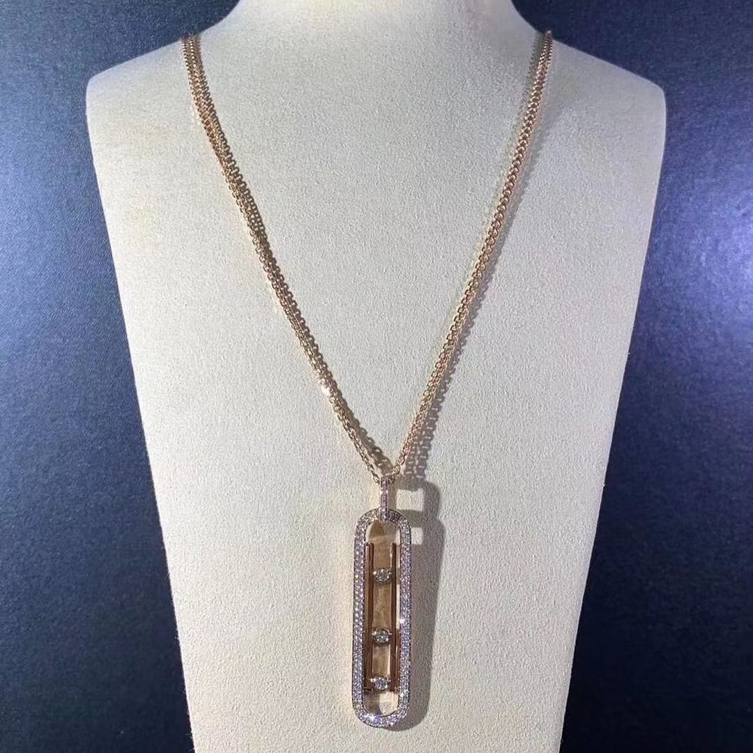 Custom Made Messika 18kt Rose Gold Collier Move 10th PM Necklace