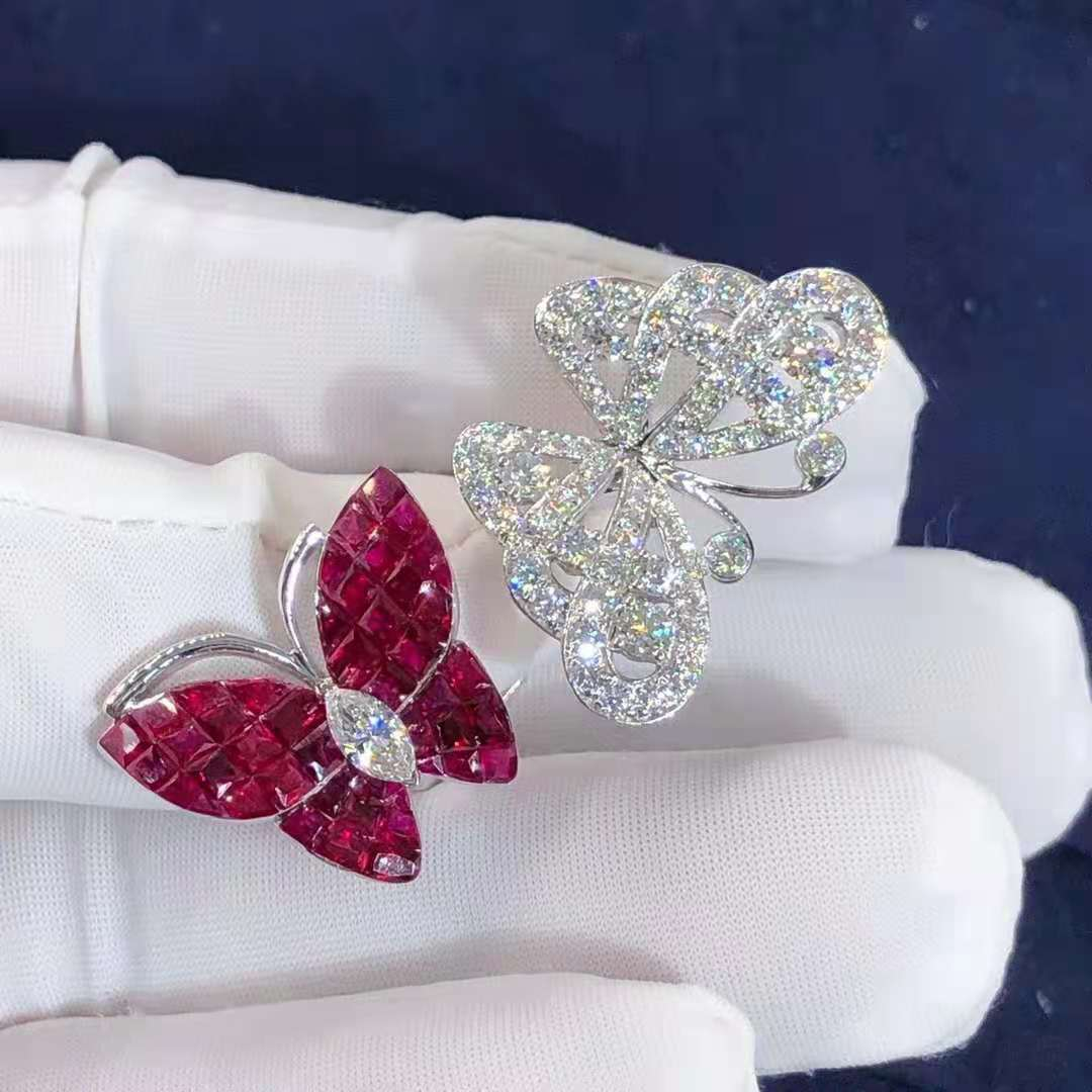 VCA 18k White Gold Mystery Set Rubies & Diamond High Jewelry Flying Butterfly Between The Finger Ring