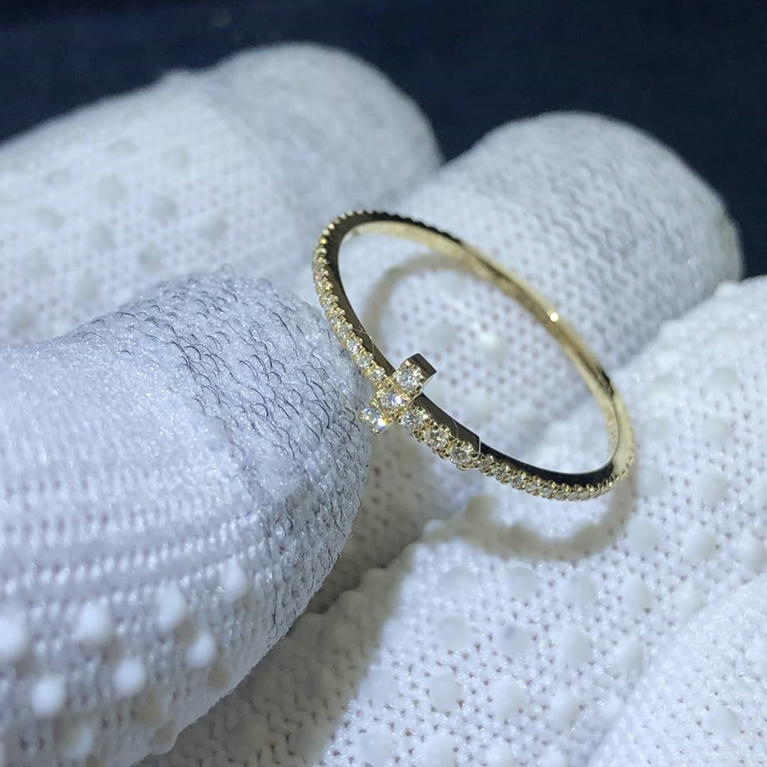 Tiffany T Diamond Wire Band Ring in 18K Yellow Gold