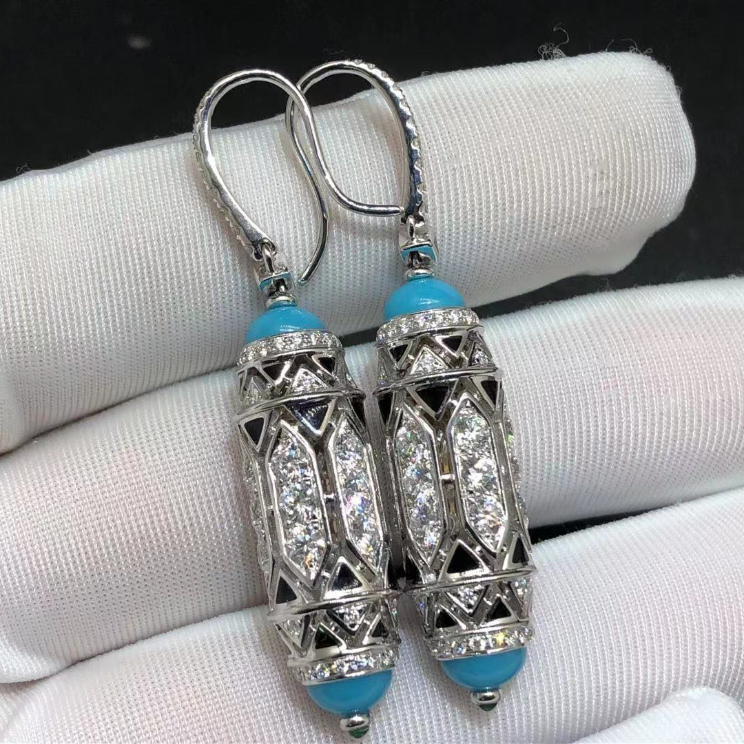 Cartier High Jewelry Art-Déco Inspired 18K White Gold Diamonds Earrings H8000495