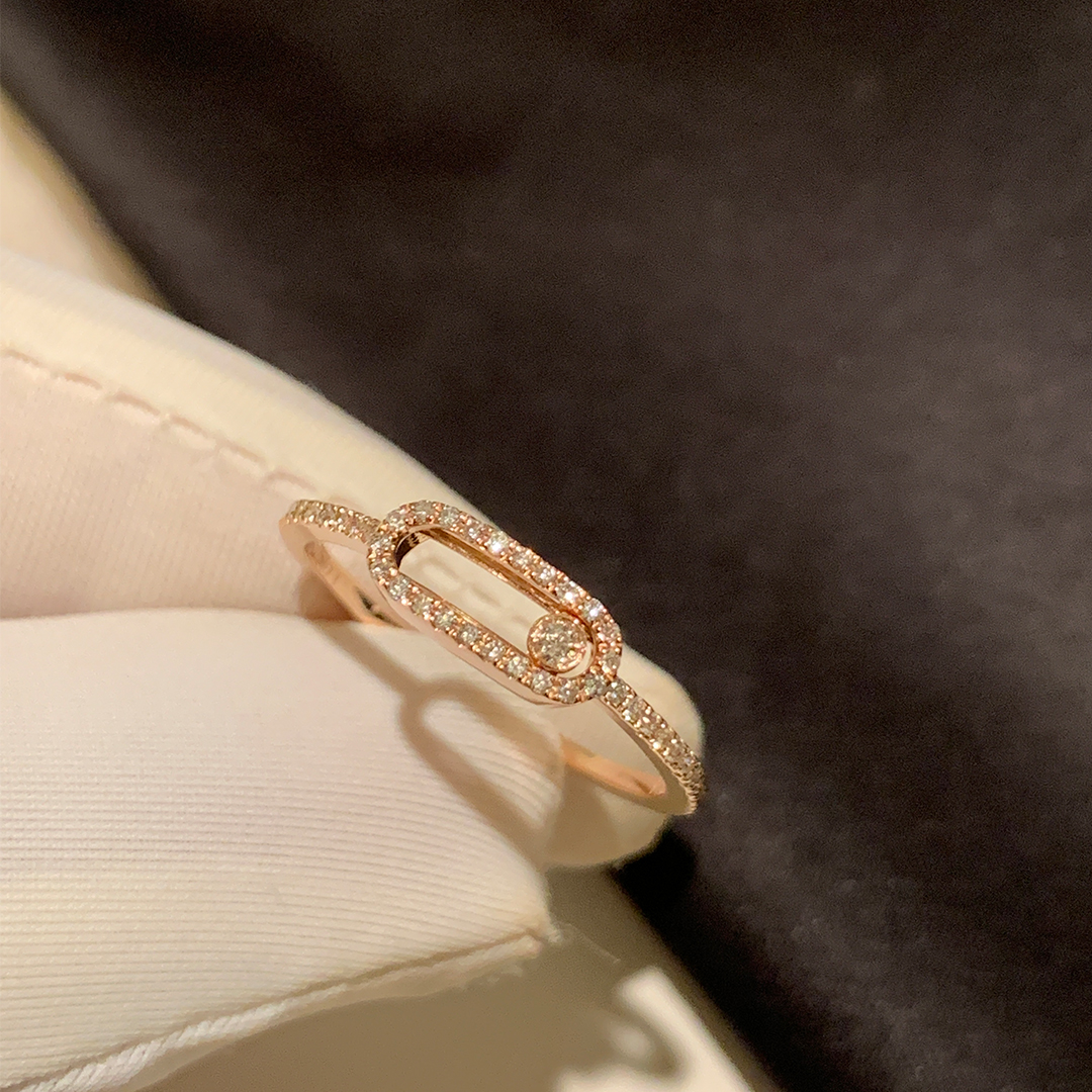 Messika 18k Rose Gold Move Uno Pave Diamond LM Ring